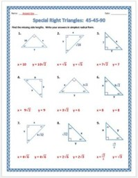 Special Right Triangles: 45-45-90 Practice Worksheet by Dr ...