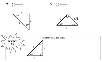 Special Right Triangles Guided Notes for Right Triangles