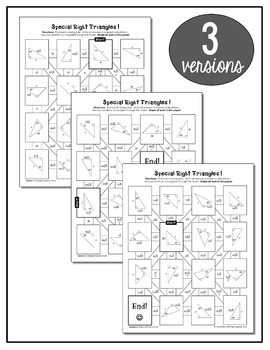 Special Right Triangles Puzzle Worksheet