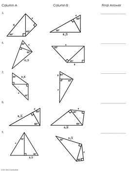 Multi-Step Special Right Triangles Partner Worksheet by