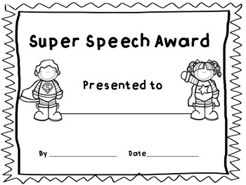 Speech-Language Therapy Award Certificates (End of year