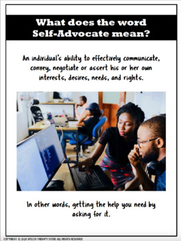 Speech Therapy SelfAdvocacy Role Play Activity for High