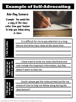 Speech Therapy Self Advocacy Role Play Activity For High
