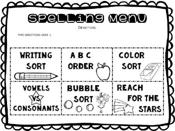 Spelling Activities for ANY Words Their Way List by