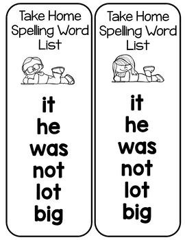 Spelling Freebie: Words and activities for Kindergarten