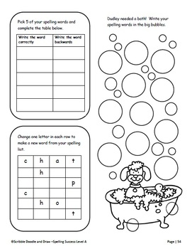 Spelling Success homework activities for grade 1 (level A