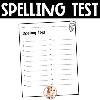 Spelling Test Paper (20 words) by The Resourceful Teacher