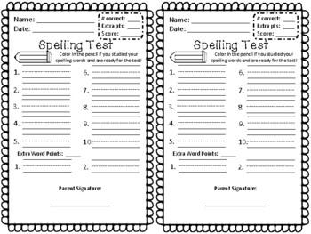 Spelling Test & Pre-Test Template- kindergarten, 1st grade
