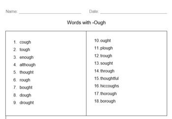 Ough Words Activities
