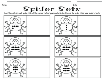 Spider Sets! {a math activity for matching numerals to