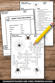 Spider Facts, Halloween Science Crossword Puzzle, Science