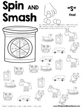 Spin and Smash: Articulation Play Dough Worksheets by