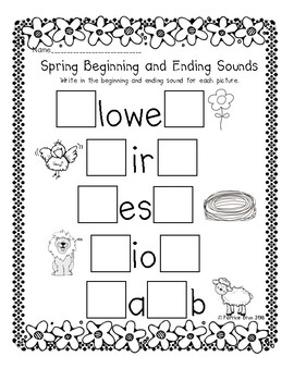 Spring Beginning and Ending Sound Worksheet by Kinderparty