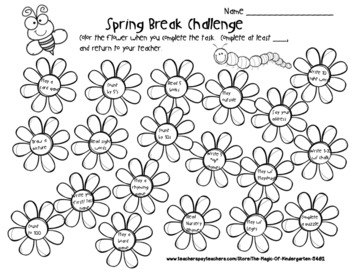 Spring Break Challenge~Activity Worksheet by The Magic of