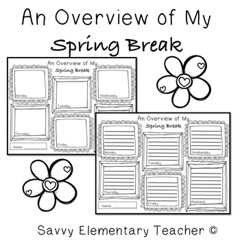 Spring Break Daily Drawing/Writing Activity by Savvy