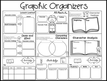 Character Analysis Short Stories Graphic Organizers