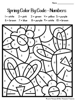 Spring Coloring Pages Color By Code Kindergarten by Mrs