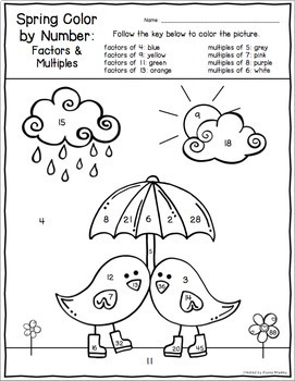 Spring Color by Number (Fractions, Factors, Multiples, and