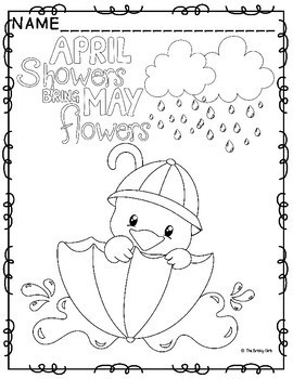 Spring Coloring Pages- April Showers Bring May Flowers by