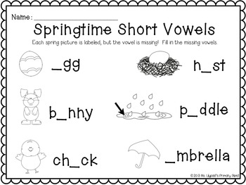 Spring Centers for Kindergarten (Math and Literacy BUNDLE