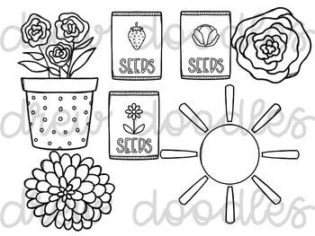 Spring Doodles Digital Clip Art Set- Black Line Version by