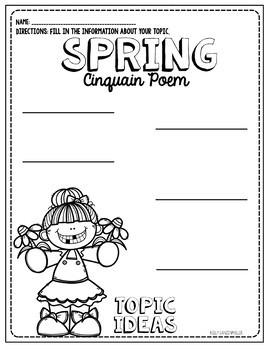 Spring Flower Cinquain Poem Craftivity and graphic