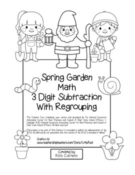 Spring Garden Math 3 Digit Subtraction Regrouping (color