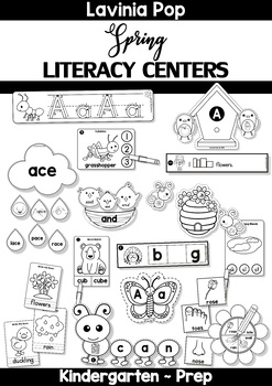 Spring Literacy Centers for Kindergarten B&W by Lavinia