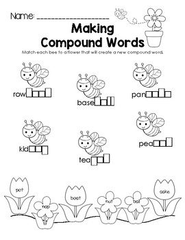 Spring Making Compound Words Worksheet by Little Learning
