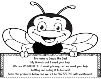 Spring Math Craftivity- Buzzy the Bee Multi-Step Word