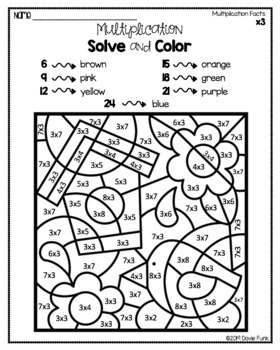 Spring Multiplication Coloring Worksheets Math Solve and