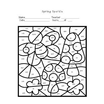 Spring Phonics Color By Code Short Vowel Sounds Worksheet