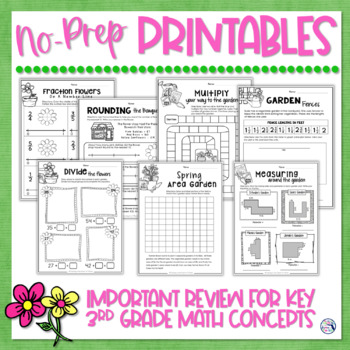 Math Review Worksheets for Spring {Fractions, Area, Mult