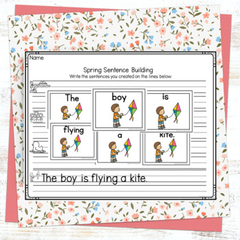Spring Sentence Scramble by Adventures in Kinder and