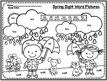 Spring Sight Word Pictures plus Practice Printables by