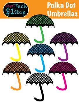 Umbrella Clipart : umbrella, clipart, Spring, Umbrella, Clipart, Polka, Rainy, Ginger's, Dollar