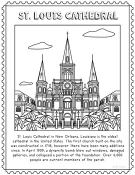 St. Louis Cathedral Informational Text Coloring Page Craft
