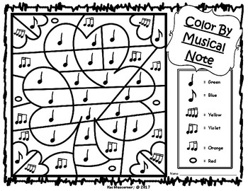 St. Patrick's Day Color By Music Activities: PDF Worksheet