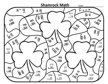 St. Patrick's Day Color By Number St Patricks Day Math
