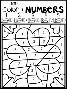 St. Patrick's Day Color by Code Numbers 1-10 Activities by