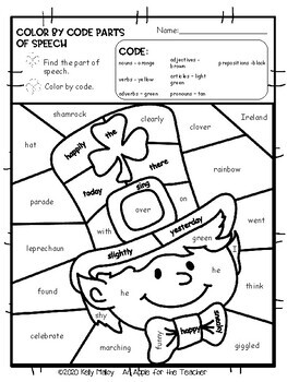 St. Patrick's Day Coloring Sheets Parts of Speech Color by