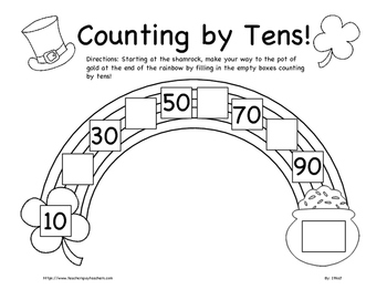St. Patrick's Day Counting by Fives and Tens Worksheet