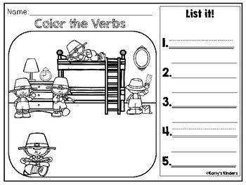 St. Patrick's Day Noun & Verb Color it by Karly's Kinders