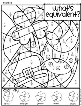 St. Patrick's Day Simplify Fractions Coloring page by My