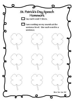 FREEBIE St. Patrick's Day Speech Homework by Miss Bre the