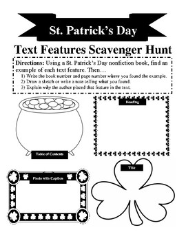 St. Patrick's Day Text Feature Scavenger Hunt by Rachael