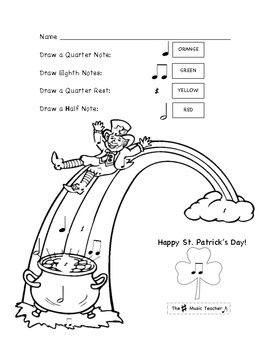 St. Patricks Day Color By Note: Early Elementary Music by