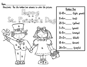 St. Patrick's Day- Color by Number, Addition and