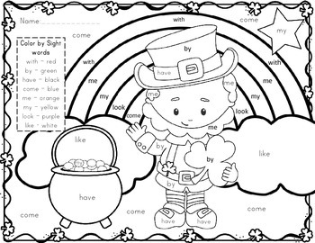 St Patrick's Day FREEBIE Color by sight word by
