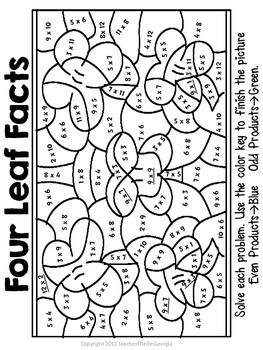 St Patrick S Day Multiplication Mosaics Fun Fact Practice